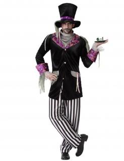 Dunkles Hutmacher-Kostüm für Herren Gothic Halloween-Kostüm schwarz-weiss-violett