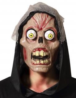 Verrückte Schädel-Maske mit Glubschaugen braun-rot
