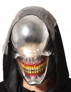 Metallische Monster-Maske ohne Augen silber-rot-gelb