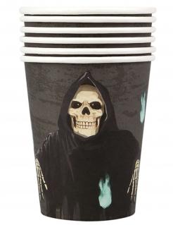 Sensenmann-Pappbecher Skelett Halloween schwarz-weiss-grau 10 cm