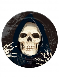 Sensenmann-Pappteller Skelett Halloween schwarz-weiss23 cm