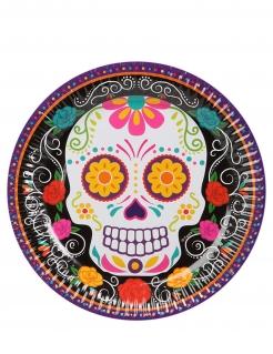 Sugar-Skull-Papteller Tag der Toten 6 Stück schwarz-bunt 19 cm