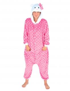Katzenkostüm Katze-Overall für Erwachsene rosa