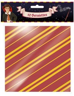 Zauberschüler-Servietten Halloween-Tischdeko 12 Stück rot-gelb 33x33 cm