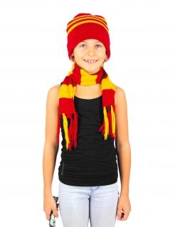Zauberlehrling-Set Mütze und Schal Halloween-Accessoire rot-gelb