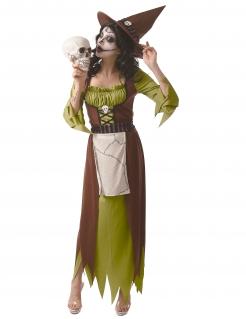 Hexen-Kostüm für Damen giftige Hexe Halloweenkostüme grün-braun