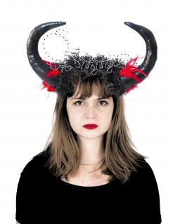 Dämonenhörner für Erwachsene mit Federn schwarz-rot