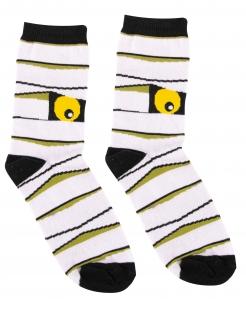 Monster-Socken für Erwachsene Mumien Halloween schwarz-weiss-gelb