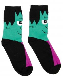 Monster-Socken für Erwachsene Halloween schwarz-grün-lila