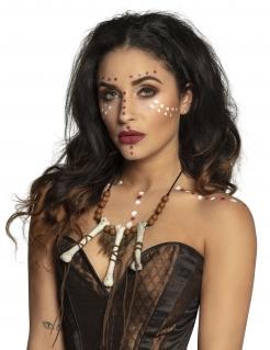 Magische Voodoo-Halskette für Erwachsene braun-weiß