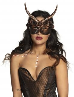 Steampunk-Maske mit Hörnern und Rosen schwarz-kupfer