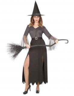 Hexenkostüm für Damen Halloween grau-schwarz