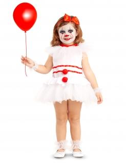 Halloween-Clown-Kostüm für Babys und Kleinkinder weiss-rot
