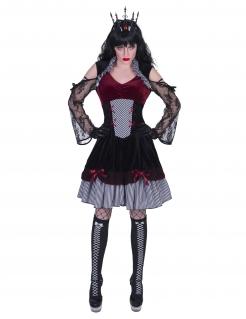 Edles Gothic-Kostüm für Damen Halloweenkostüm schwarz-rot