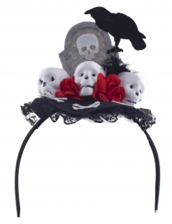 Detailreicher Grabstein-Haarreif für Halloween und Tag der Toten grau-schwarz-rot