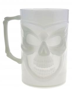 Phosphoreszierender Totenkopf-Becher Schädel-Glas 13 cm