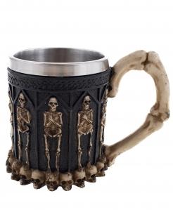Düsterer Skelettbecher Wikingerbecher aus Edelstahl Halloween-Tischdeko schwarz-silberfarben-grau 12 cm