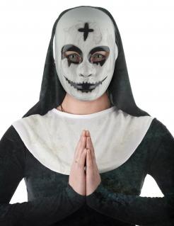 Unheimliche Horrornonnen-Maske für Erwachsene weiß-schwarz