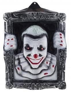 Killerclown-Gemälde mit Leuchteffekt schwarz-weiß-rot 40 x 50 cm