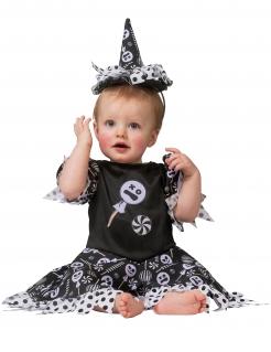 Süßigkeiten-Hexe Babykostüm für Halloween schwarz-weiß