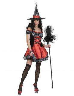 Süße Pünktchen-Hexe Halloween-Damenkostüm schwarz-rot-weiß