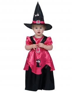 Süßes Hexenkostüm für Babys schwarz-pink-weiß