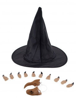 Hexen-Zubehörset für Damen 13-teilig schwarz-beigefarben