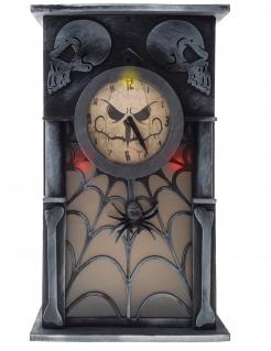 Spuk-Uhr mt Licht, Bewegung, Geräuschen und Bewegungsmelder grau-schwarz 34 x 20 x 8 cm