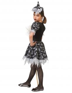 Freche Süßigkeiten-Hexe Halloween-Kostüm für Mädchen schwarz-weiß-grau
