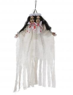 Siamesische Horrorschwestern Halloween-Hängedeko weiß-braun-rot 60 cm