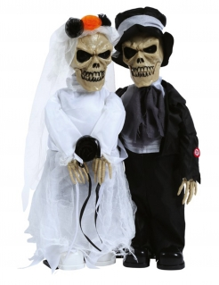Animiertes Skelett-Brautpaar Halloween-Dekofigur bunt 48 cm