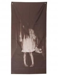 Besessenes Mädchen Wanddeko für Halloween schwarz-weiß 75 x 160 cm