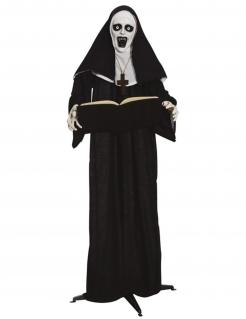 Horror-Nonne-Figur Halloween-Deko schwarz-weiss 165 cm