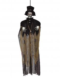 Voodoo-Figur mit Leuchtfunktion Halloween-Deko braun-schwarz-weiss 120 cm