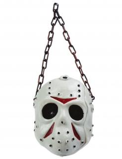 Hockey-Maske Halloween-Deko weiss-rot-grau