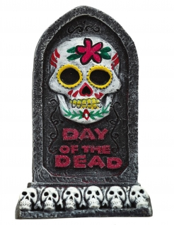 Tag-der-Toten-Deko Halloween-Grabstein Day of the Dead schwarz-bunt 13 x 8 cm