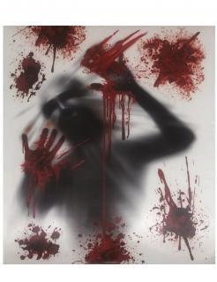 Blutige Handabdrücke Fensterbild Halloween-Fenster-Deko grau 80 x 90 cm