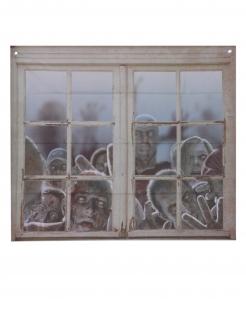 Zombie-Fensterbild Halloween-Fenster-Deko grau 80 x 90 cm