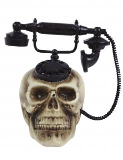 Totenschädel-Telefon Halloween-Deko mit Sound grau-schwarz