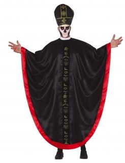 Priester-Kostüm Halloweenkostüm für Erwachsene schwarz-rot-gold