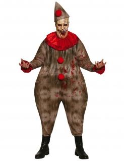 Wohlgenährter Horrorclown Halloween-Herrenkostüm braun-rot