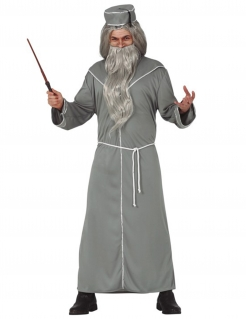 Magier-Kostüm für Herren Zauberer grau