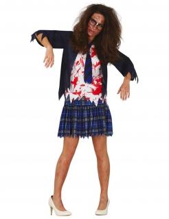 Zombie-Schülerin Damenkostüm blau-weiß-rot