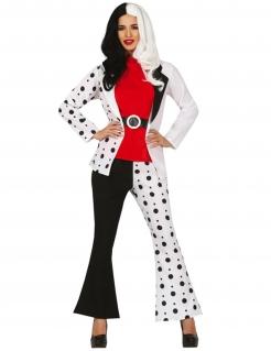 Dalmatiner-Schurkenkostüm für Damen schwarz-weiß-rot