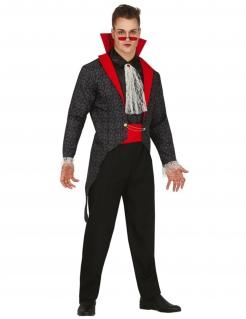 Gotisches Vampirkostüm für Herren schwarz-rot-grau