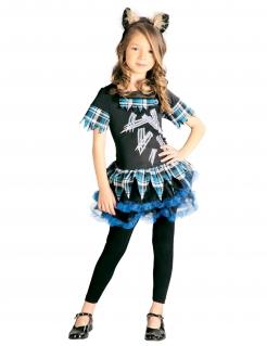 Zerfetztes Werwolf-Kostüm für Mädchen schwarz-weiß-blau