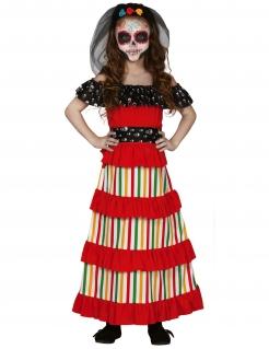 Mexikanisches Dia de los Muertos Mädchenkostüm bunt