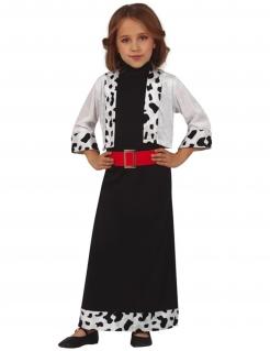 Elegante Dalmatiner-Schurkin Kinderkostüm für Halloween schwarz-weiß-rot
