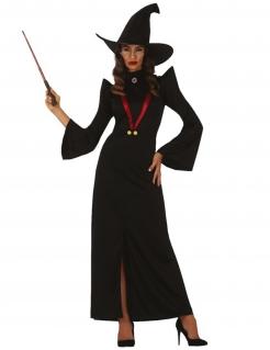 Hexe-Kostüm für Damen Hexenkleid mit Hut schwarz