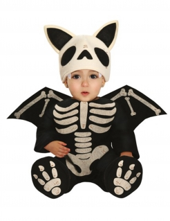 Skelett-Fledermaus-Kostüm für Babys Halloween-Overall schwarz-weiss